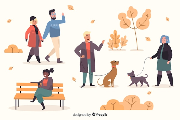 People in the autumn park