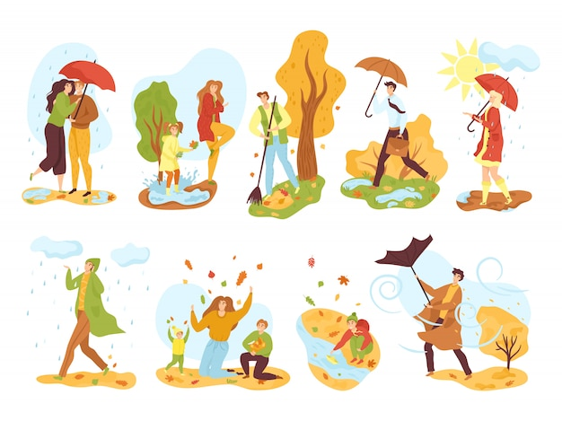 People in autumn season set of   illustrations. men and women in fall outdoor under rain with umbrella, in autumnal park, kids playing with autumn leaves. windy weather.
