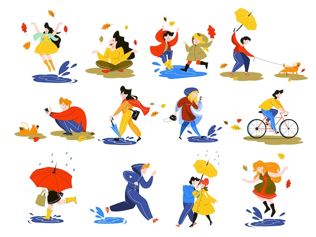 People in autumn season set. park activity. man on bicycle, girl with leaves. boy with umbrella.    illustration