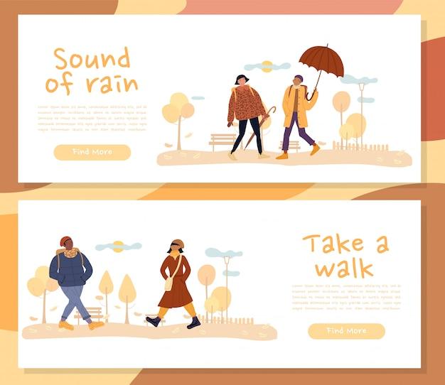 People autumn walk motivation header banner set