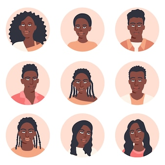 People avatar big bundle set. african american men and women various avatar. collection of female and male characters. for video game, internet forum, account. user pic, human face icons in flat style
