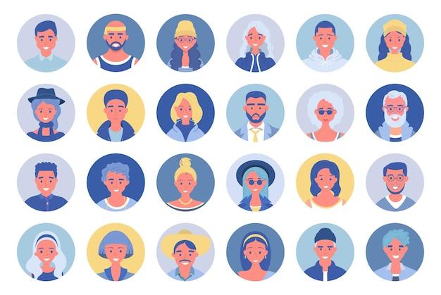 사람들이 아바타 번들 세트. 사용자 초상화. 다른 인간의 얼굴 아이콘. 남성과 여성 캐릭터. 웃는 남자와 여자 캐릭터.