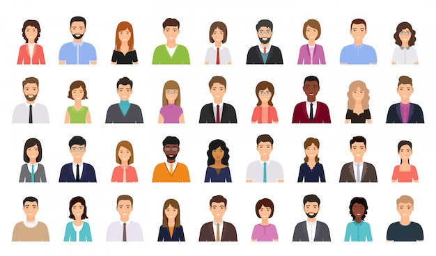 People avatar. business person icon. vector illustration. flat design.