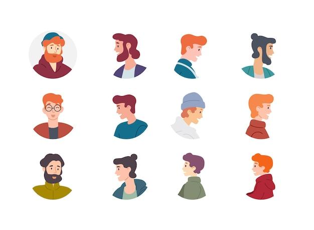 Коллекция аватаров людей. мужчины, мальчики, мужчины, персонажи.