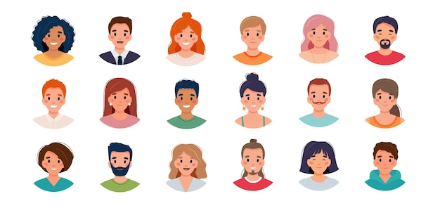 Набор аватаров людей. группа разнообразия молодых мужчин и женщин.