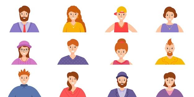 人々のアバターセット。男性と女性の肖像画。