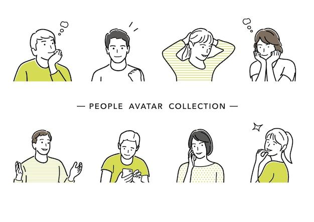 人々のアバターベクトル線画コレクション若い男性と女性のフラットシンプルなイラストのセット
