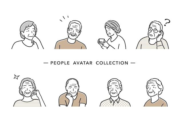Persone avatar vector line drawing collection set di vecchi uomini e donne piatto semplice illustrazione