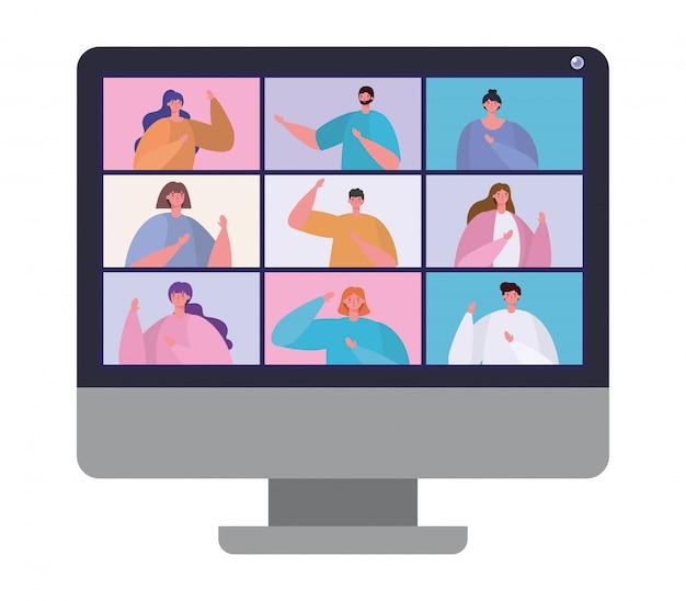 ビデオチャット会議デザインのコンピューター上の人々アバター