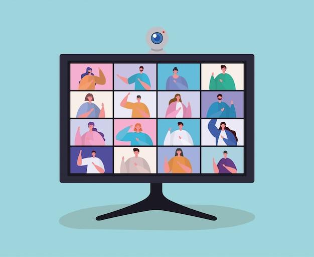 ビデオチャットデザインのコンピューター上の人々アバター