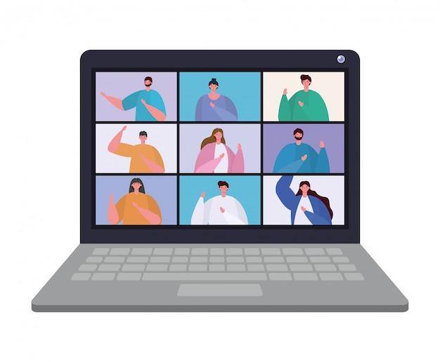 ビデオチャット会議デザインのラップトップ上の人々アバター