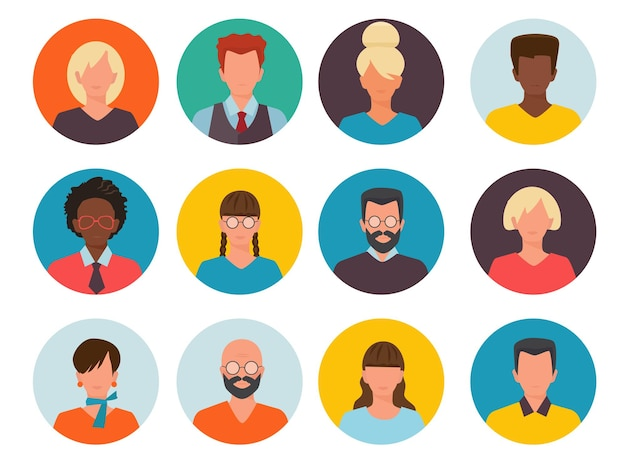 People avatars. profile id images cv head of businessman and women  collection.