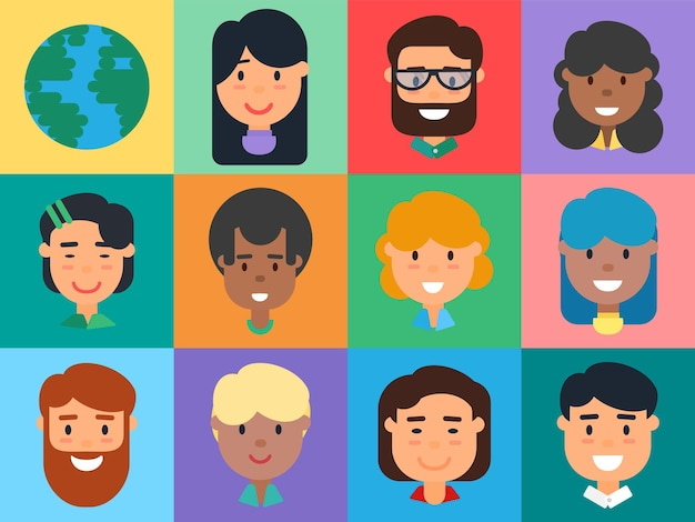 人々のアバターセット、多様な男性と女性の顔。白人、アフリカ系アメリカ人、アジアの男性と女性の漫画のビジネスマン、学生、サラリーマンのフラットベクトルイラスト