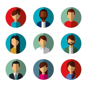 People avatars social media characters round icons