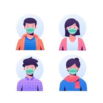 People avatars wearing surgeon masks
