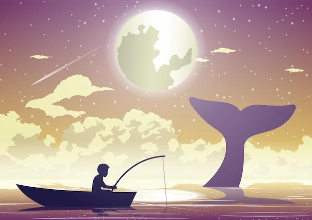 Люди и сцена из жизни мальчика, сидящего на рыбалке на лодке, пока китовый хвост над поверхностью моря