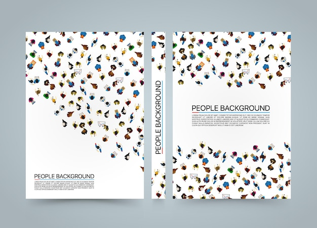 People background banner, view from above office workers blank book, a4 size, vecto