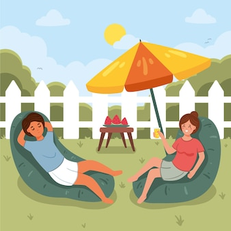 People in backyardstaycation concept