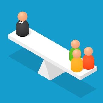 Люди балансируют на геометрических объектах. изометрический вид. баланс в бизнесе и работе. абстрактные мужчины. векторная иллюстрация.