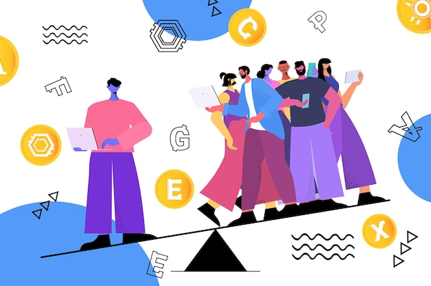 People balancing on scales cryptocurrency mining virtual money banking transaction digital currency concept horizontal full length vector illustration