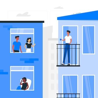 People on balconies/windows concept illustration