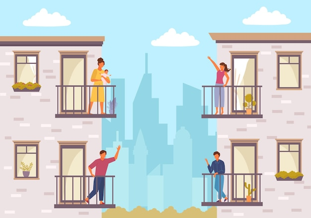 People on balcony stay home. quarantined people communicate through balcony two guys greet each other young girl with child communicates her friend house plants balcony windows.