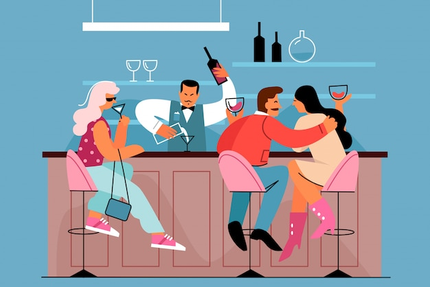 People at the bar flat vector illustration