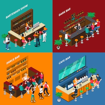 People in bar isometric 2x2 design concept