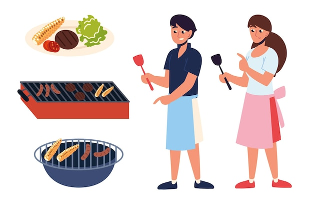 People and barbecue on grill