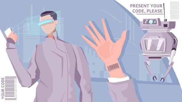 未来的なハンドスキャナーとロボットを備えた人間のキャラクターと人々のバーコードフラット構成