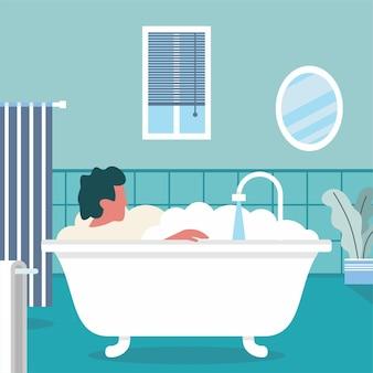 People in bathtub with bubbles in blue bathroom vector illustration interior design