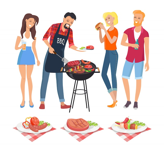 People on bbq party icons illustration