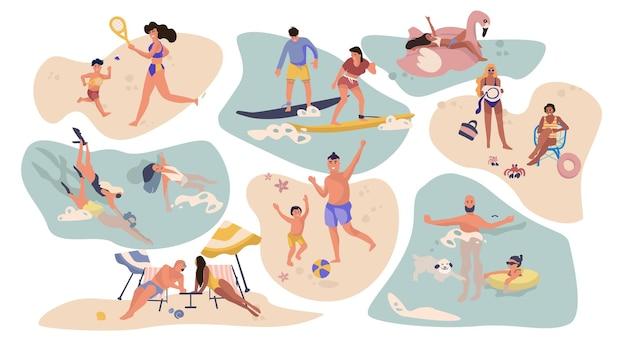 Люди пляжные развлечения. герои мультфильмов на летних каникулах, занимаются серфингом, купаются, загорают на природе.