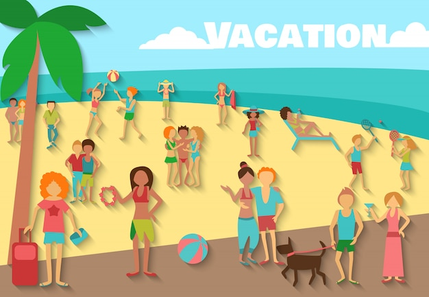 People on beach background