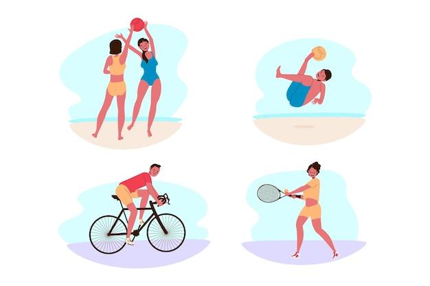 Le persone in spiaggia si divertono Vettore gratuito