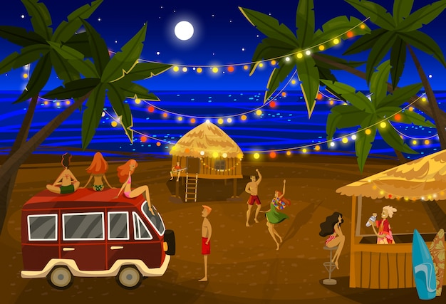 People in beach night party illustration, cartoon flat happy man woman characters dancing on fun dance beach event background