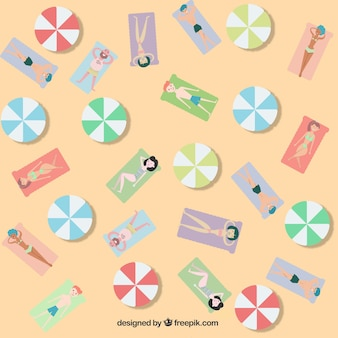 People on the beach pattern with flat design