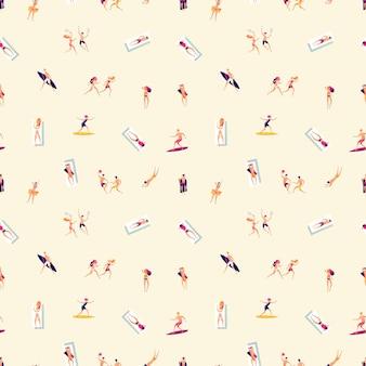 People on beach. summer vacation pattern. men women take sunbath, sporting, surfing