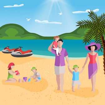 People on beach with tropical beach scenery and faceless characters of family members parents with kids