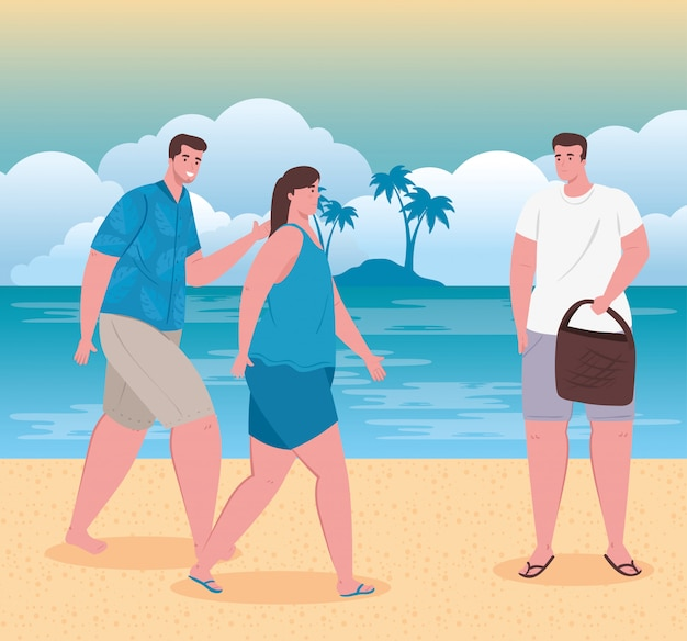 People in the beach, young people happy in vacation, summer season vector illustration design