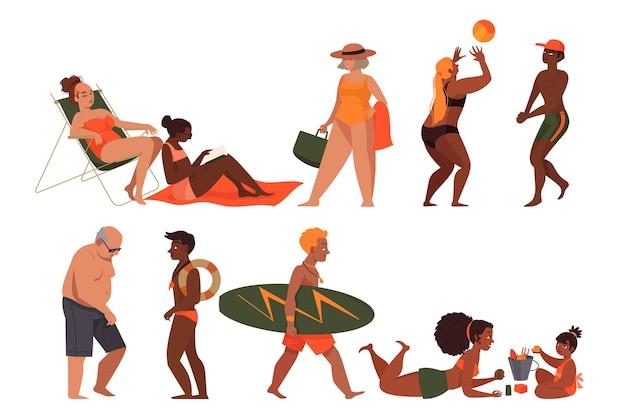 Le persone in spiaggia Vettore gratuito