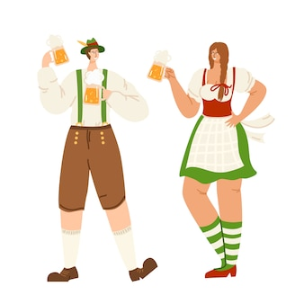 People on beer festival or oktoberfest event - man and girl together holding beer mugs