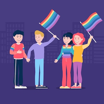 People being happy and holding lgbt flag