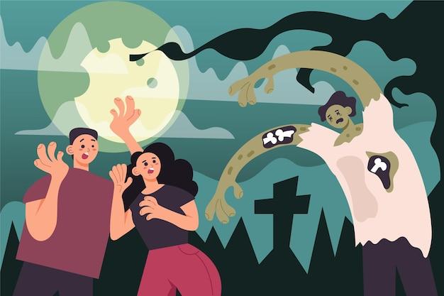 Persone spaventate da uno zombie in un cimitero