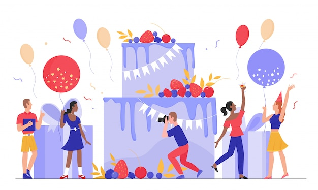 People in birthday party  illustration. cartoon tiny  man woman characters have fun together, happy friends celebrate birthdate at big gift cake, anniversary celebration  on white