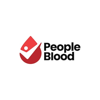 사람들이 혈액 드롭 체크 로고 템플릿