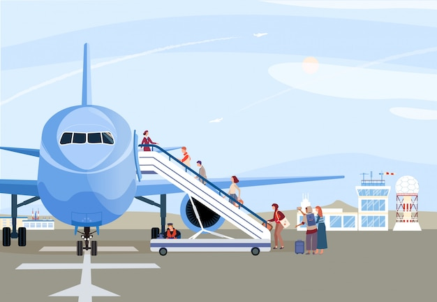 People boarding airplane, passengers walking up ramp, plane on airport runway,  illustration