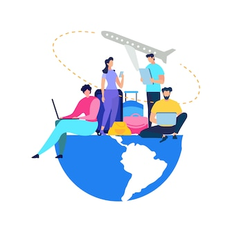 People booking airline tickets online flat vector