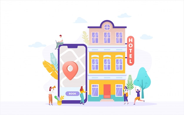 People booking hotel and search reservation for holiday  illustration concept
