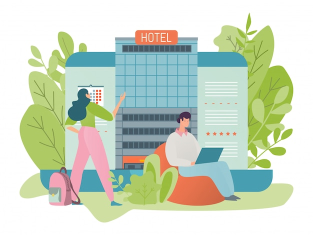 People booking a room in a hotel building via the internet with the help of an online service, illustration flat style.